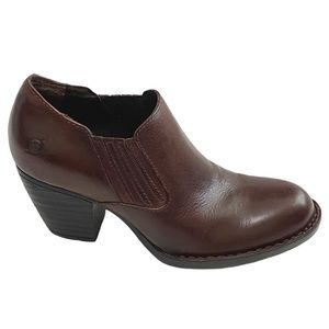 Born Olivia Leather Ankle Booties Stacked Heel 8.5